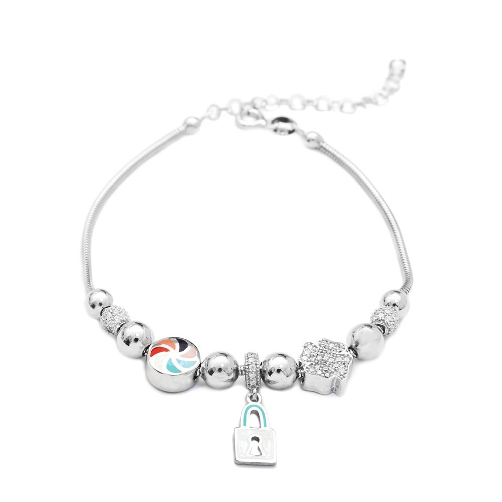 Enamel Lock Charm Bracelet Wholesale 925 Sterling Silver Jewelry