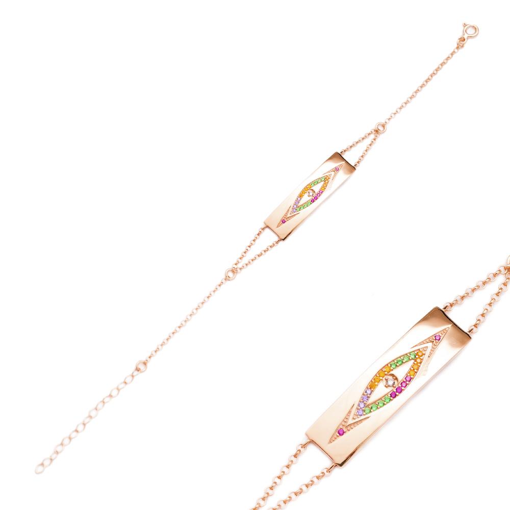 Rainbow Evil Eye Design Bracelet Wholesale Handcraft 925 Sterling Silver Jewelry