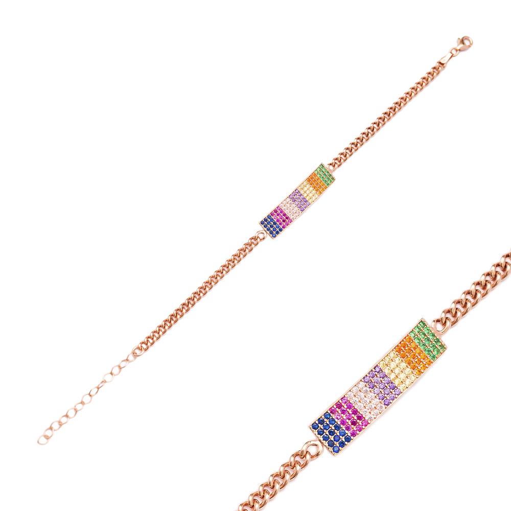 Colorful Rectangle Shape Bracelet Wholesale Handcraft 925 Sterling Silver Jewelry