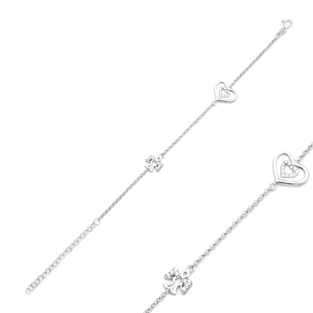 Heart And Angel Charm Bracelet Wholesale Handcraft 925 Sterling Silver Jewelry