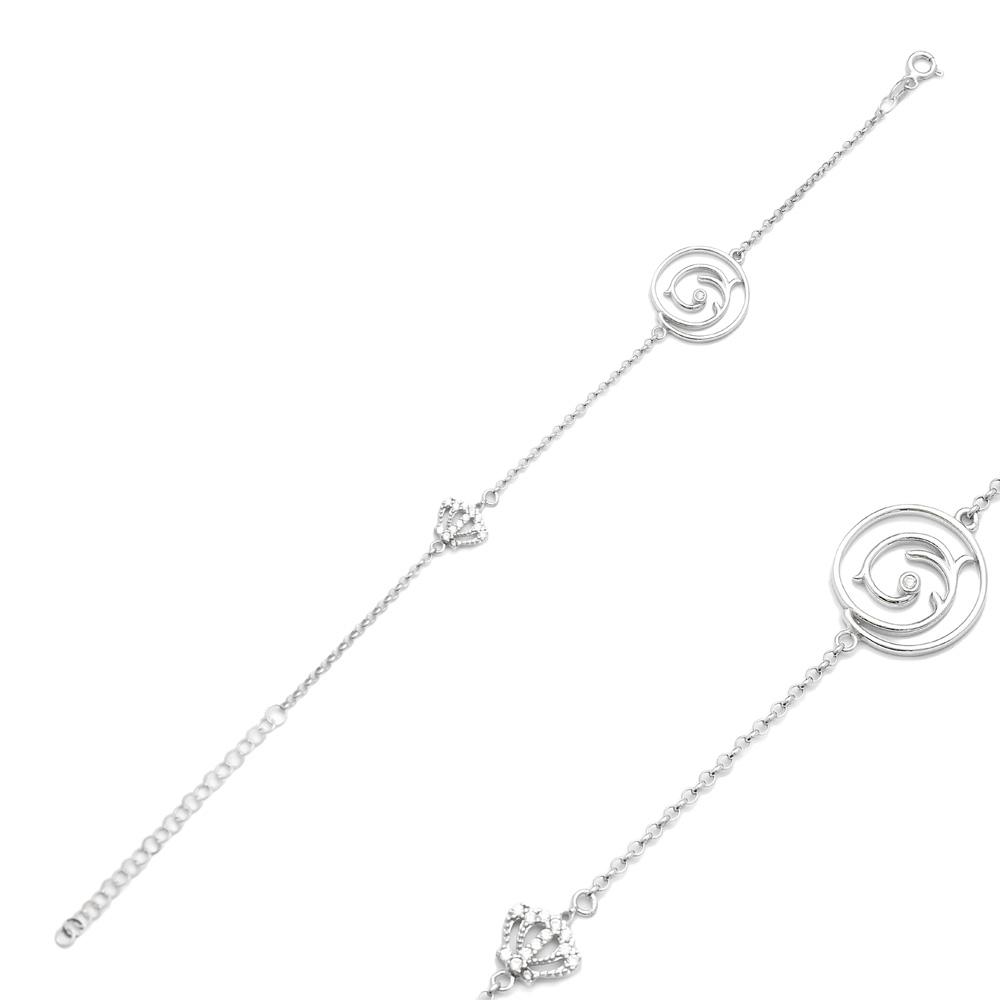 Crown Charm Bracelet Wholesale Handcraft 925 Sterling Silver Jewelry