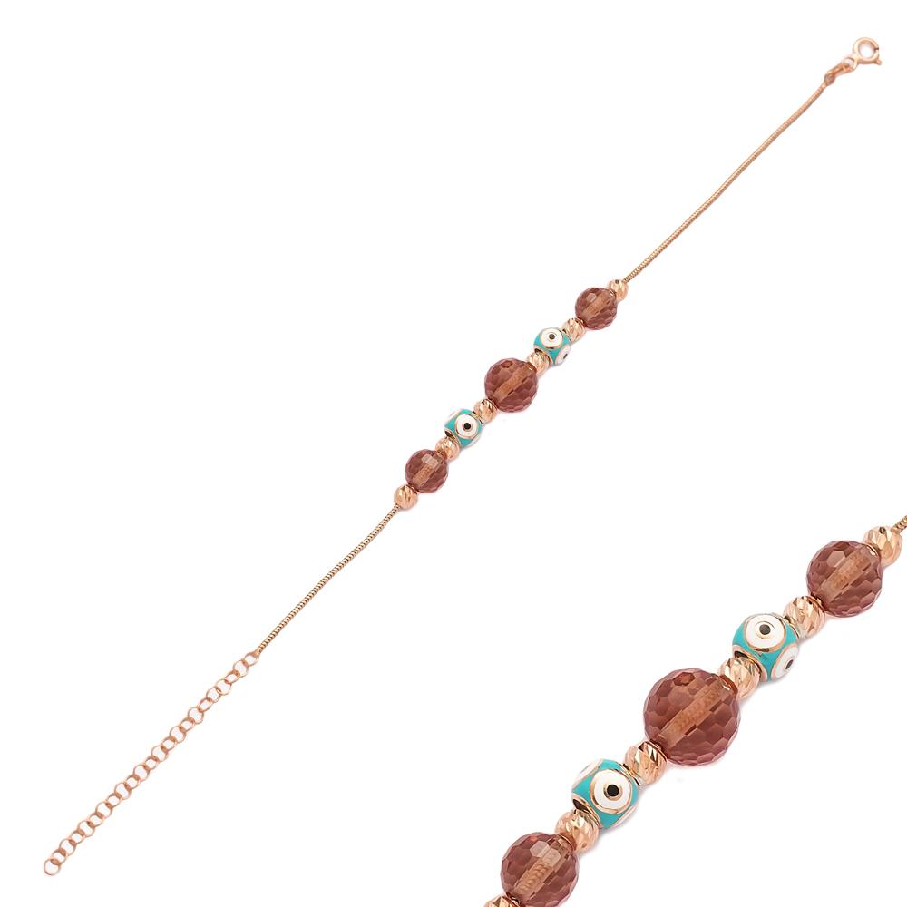 Double Enamel Charm Zultanite Stone Wholesale 925 Sterling Silver Bracelet