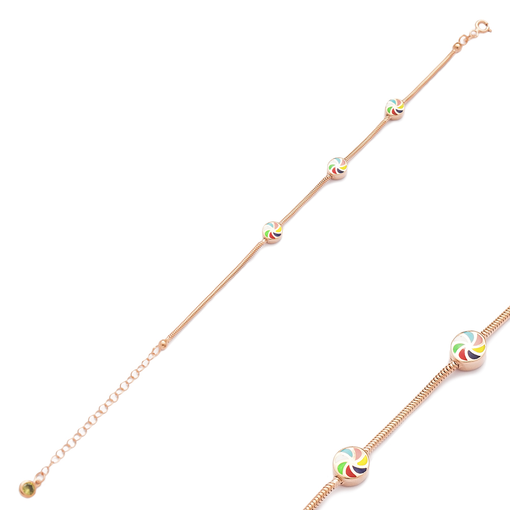 Colorful Enamel Round Bracelet Wholesale 925 Sterling Silver Jewelry