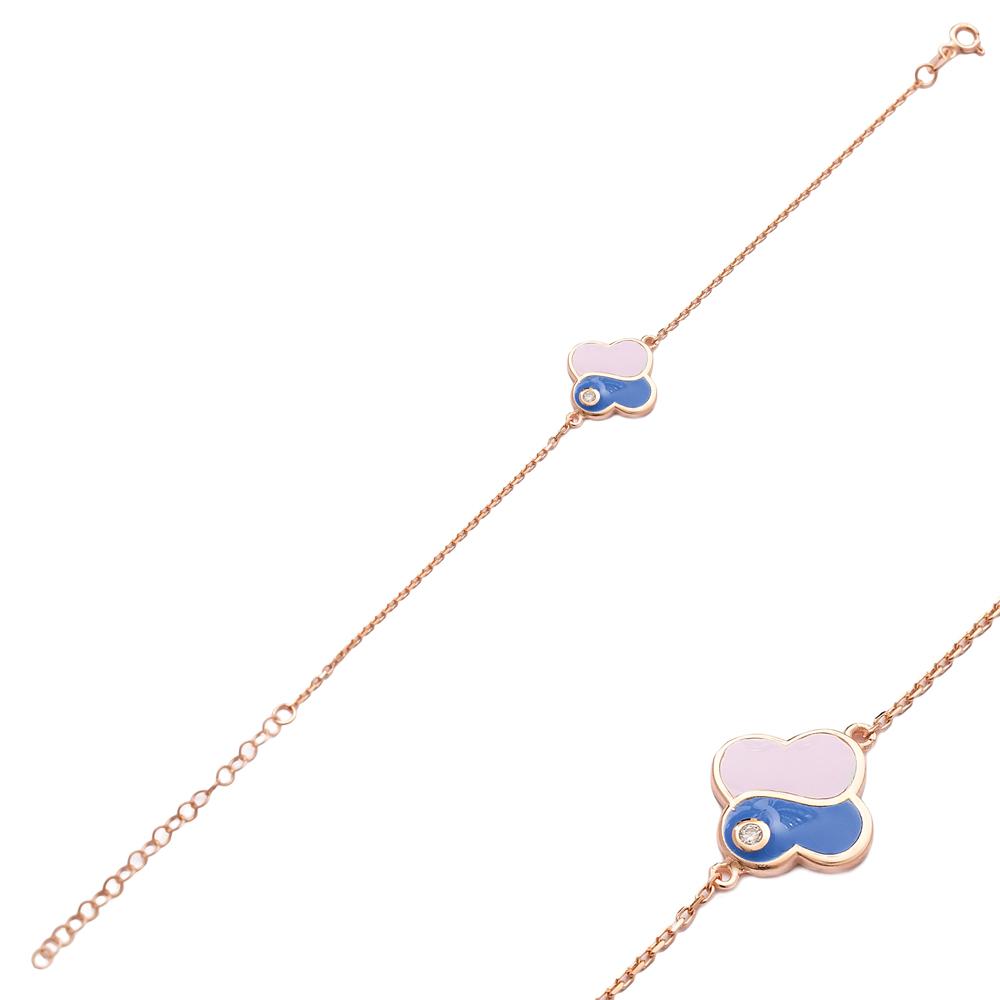 Pink and Blue Enamel Design Bracelet Wholesale 925 Sterling Silver Jewelry