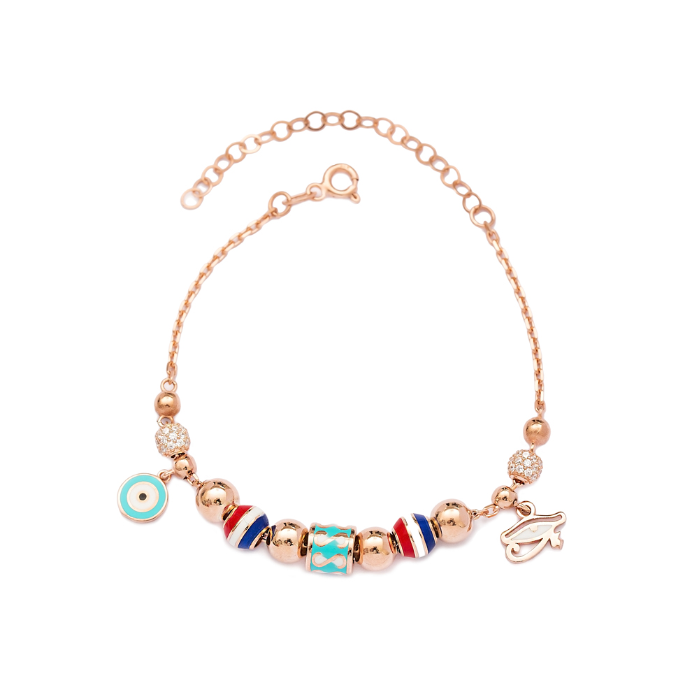 Evil Eye and Eye of Ra Charm Bracelet Wholesale 925 Sterling Silver Jewelry