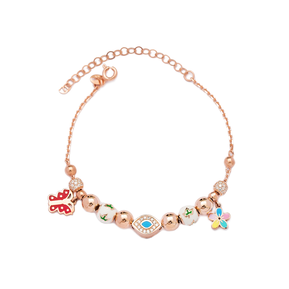 Butterfly and Flower Charm Bracelet Wholesale 925 Sterling Silver Jewelry