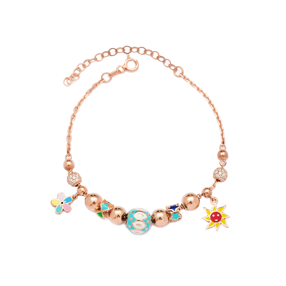 Sun and Flower Charm Bracelet Wholesale 925 Sterling Silver Jewelry