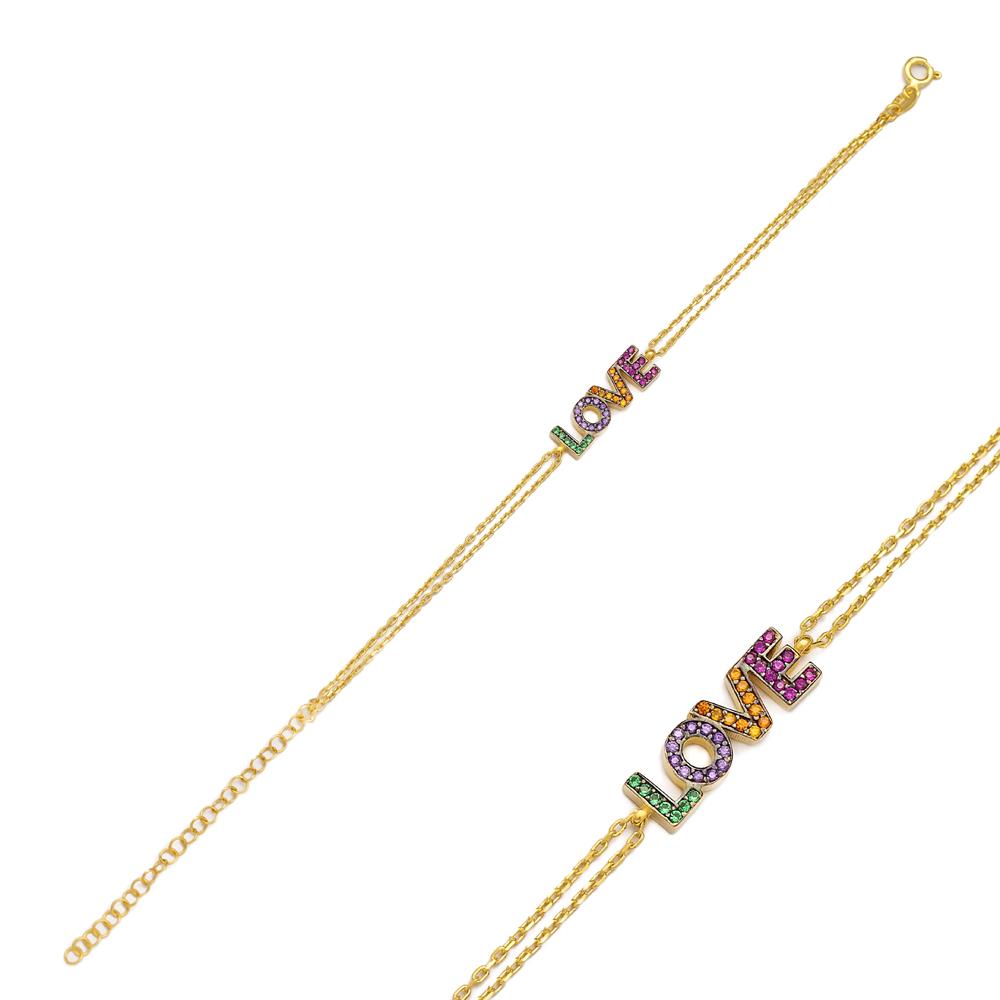 Rainbow Love Letter Design Bracelet Turkish Wholesale 925 Sterling Silver Jewelry