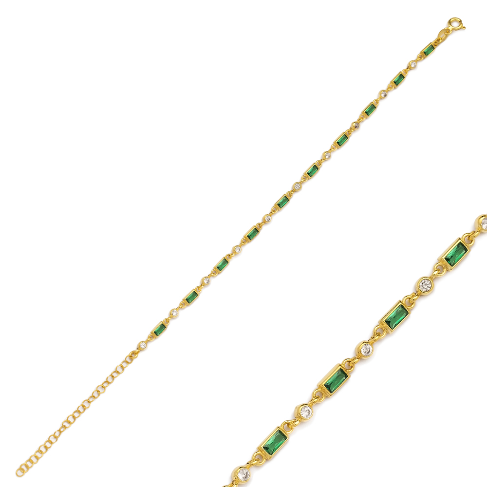 Emerald Stone Fashion Bracelet Turkish Wholesale Handmade 925 Sterling Silver Jewelry