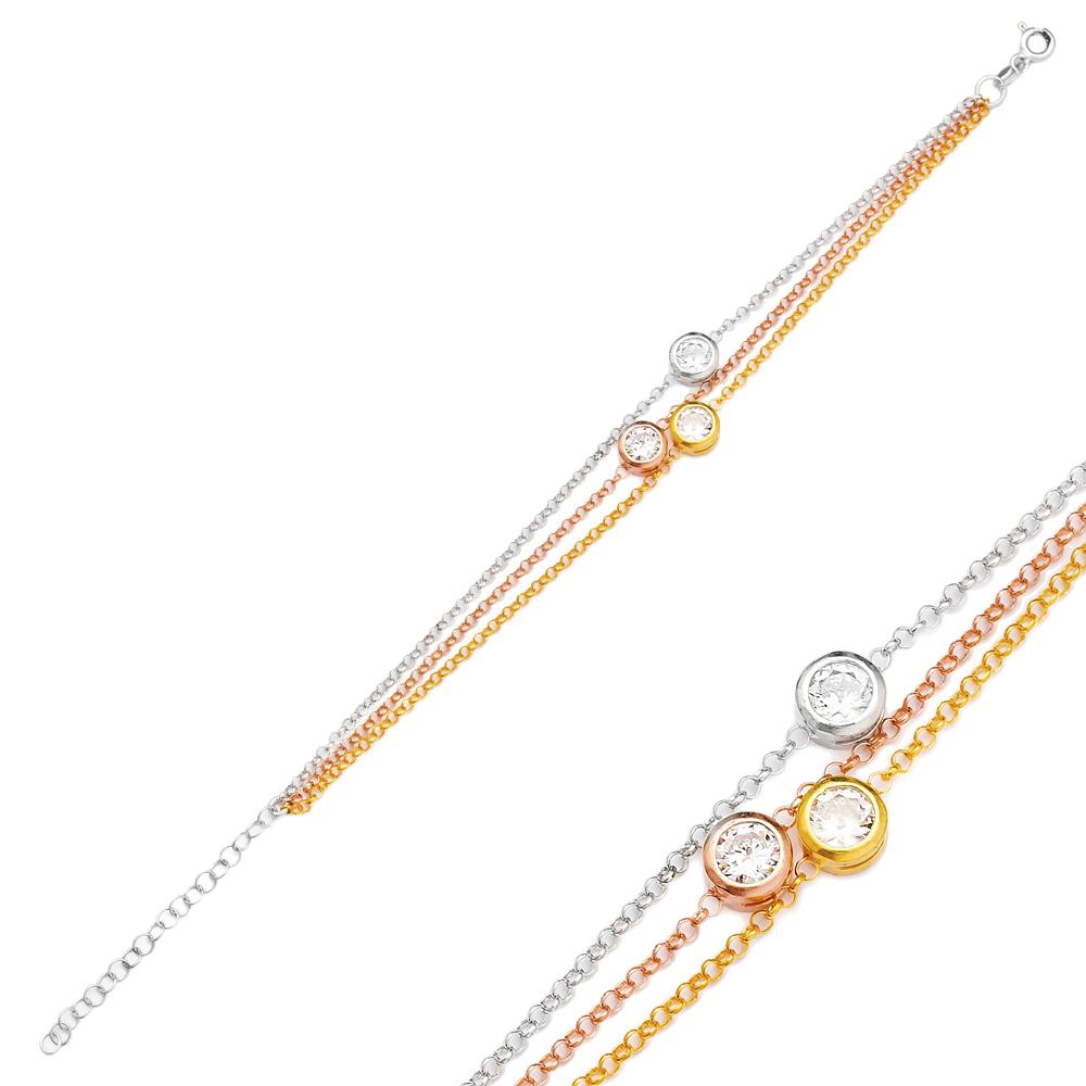 Triple Plating Zircon Stone Bracelet Turkish Wholesale Handmade 925 Sterling Silver Jewelry