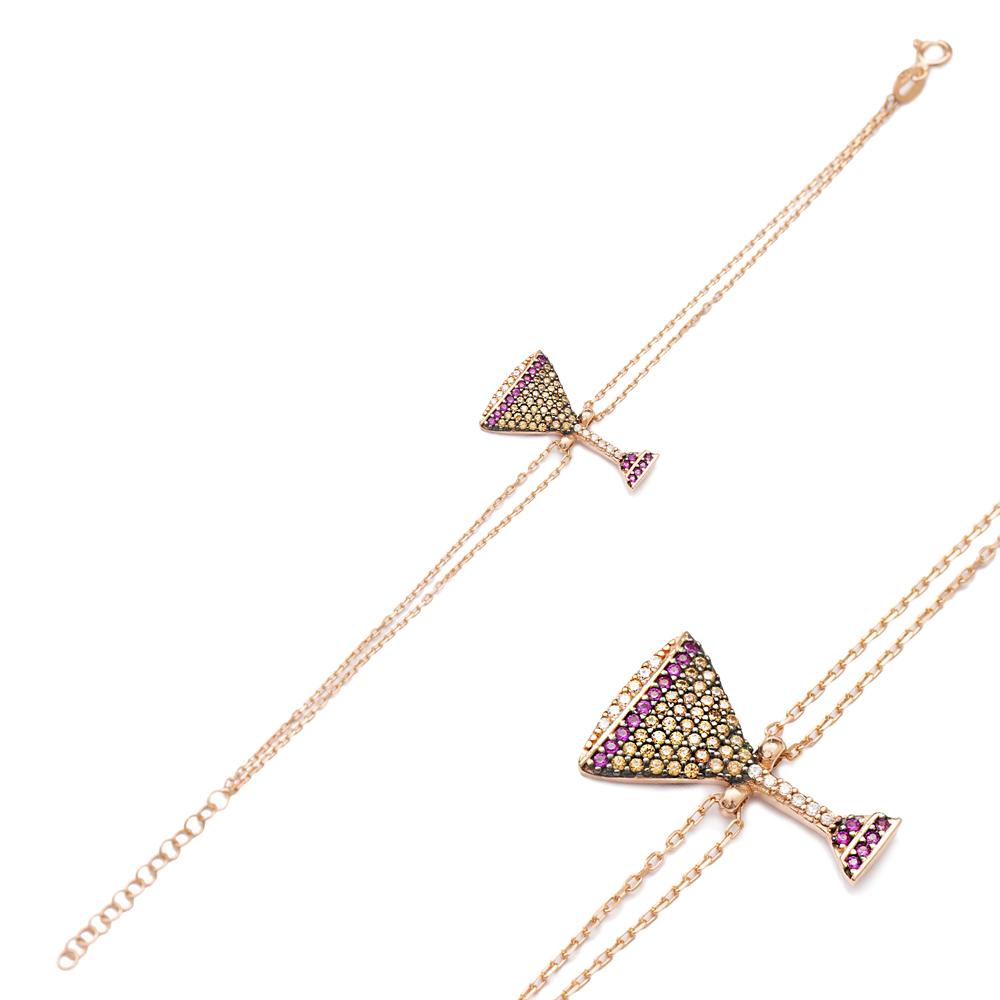 Champagne Glass Charm Design Bracelet Turkish Wholesale Handmade 925 Sterling Silver Jewelry