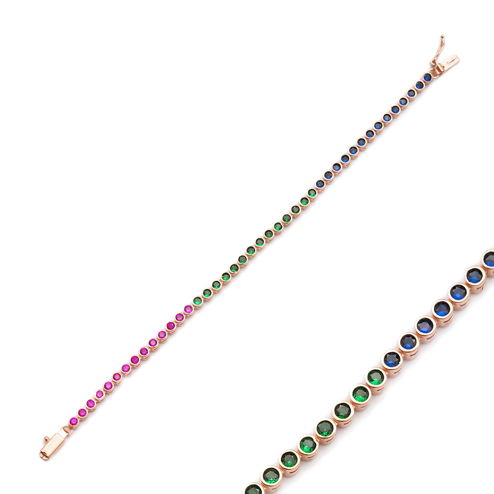 Ø2.5 mm Colorful Stone Tennis Bracelet Turkish Handcrafted Wholesale 925 Sterling Silver Jewelry