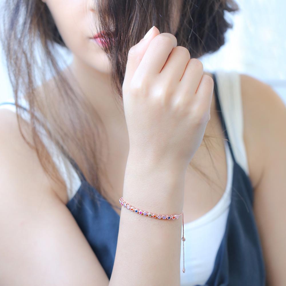 Ø4 mm Heart Shape Mix Stone Adjustable Tennis Bracelet Turkish Handcrafted Wholesale 925 Sterling Silver Jewelry