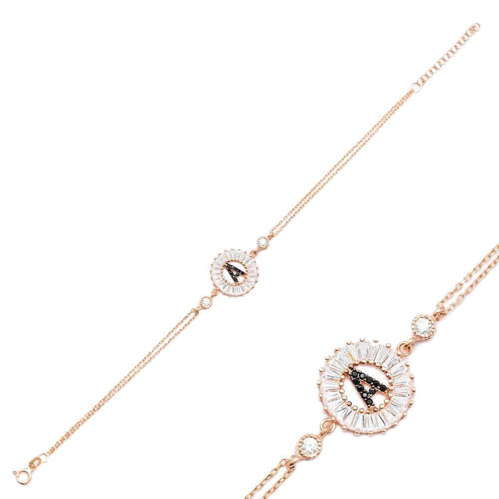 Alphabet A Letter Baguette Stone Design Bracelet Turkish Wholesale Handmade 925 Sterling Silver Jewelry