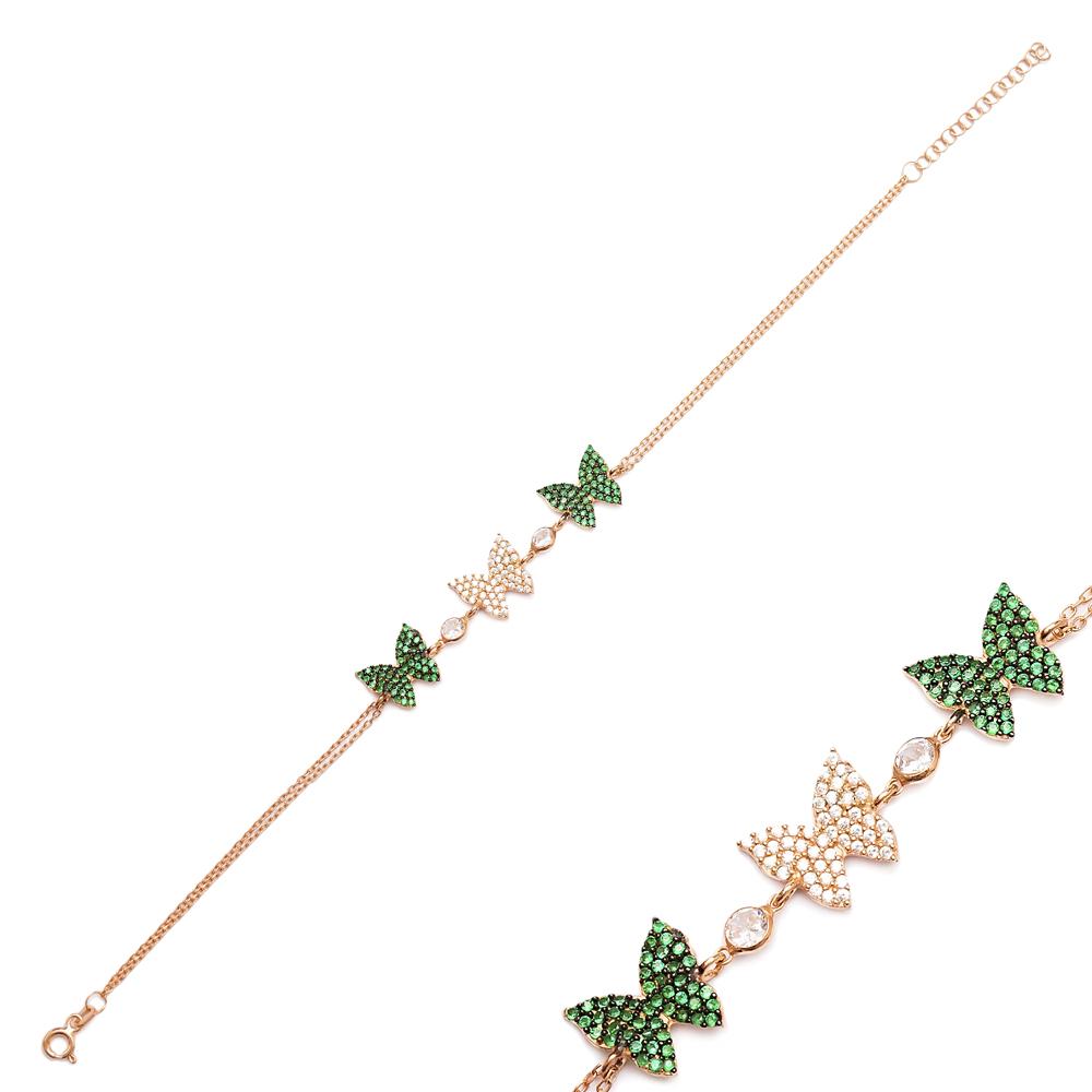 Butterfly Charm Emerald Stone Design Bracelet Turkish Wholesale Handmade 925 Sterling Silver Jewelry