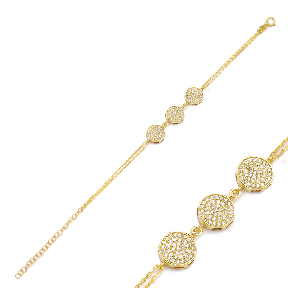Round Style Three Charm Bracelet Wholesale Turkish 925 Sterling Silver Jewelry