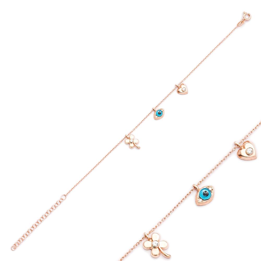 Clover Evil Eye Heart Shaker Charm Bracelet Wholesale Turkish Sterling Silver Jewelry