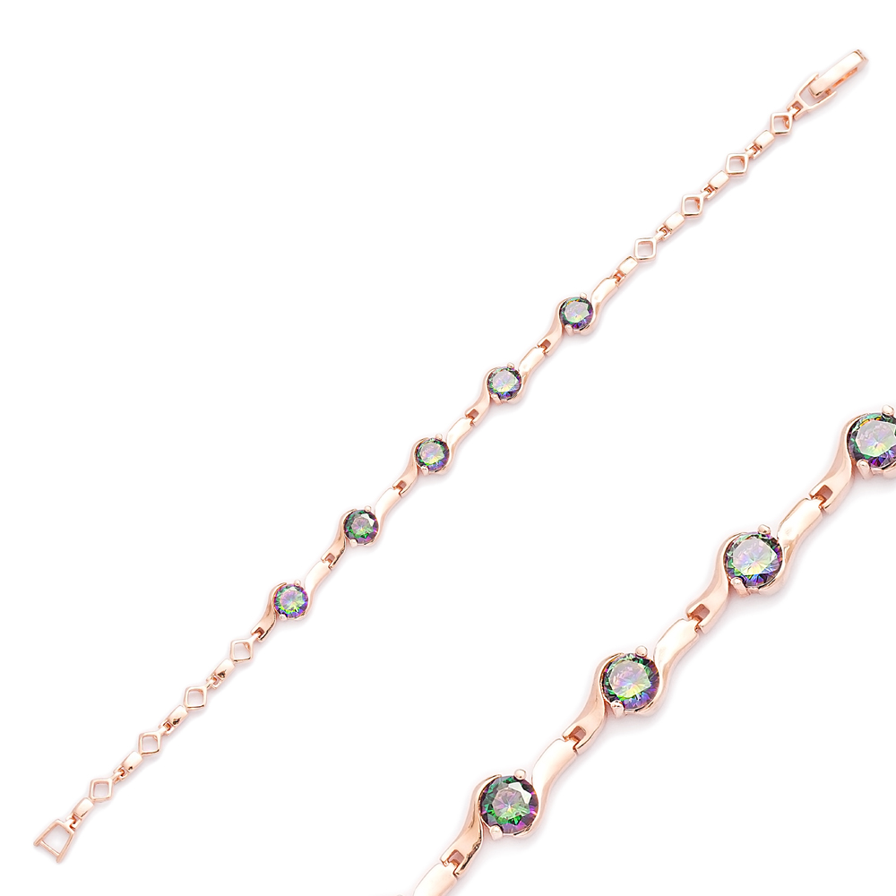 Dainty Chain Round Charm Bracelet Wholesale Turkish Sterling Silver Jewelry