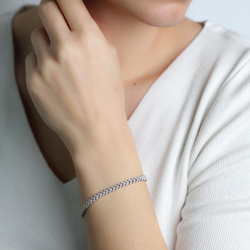 Unique Design Zircon Stone Wholesale Turkish Sterling Silver Tennis Bracelet
