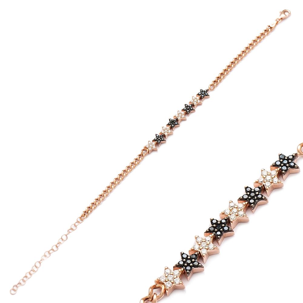 Zircon Stone Star Design Bracelet Wholesale Handcraft 925 Sterling Sİlver Jewelry