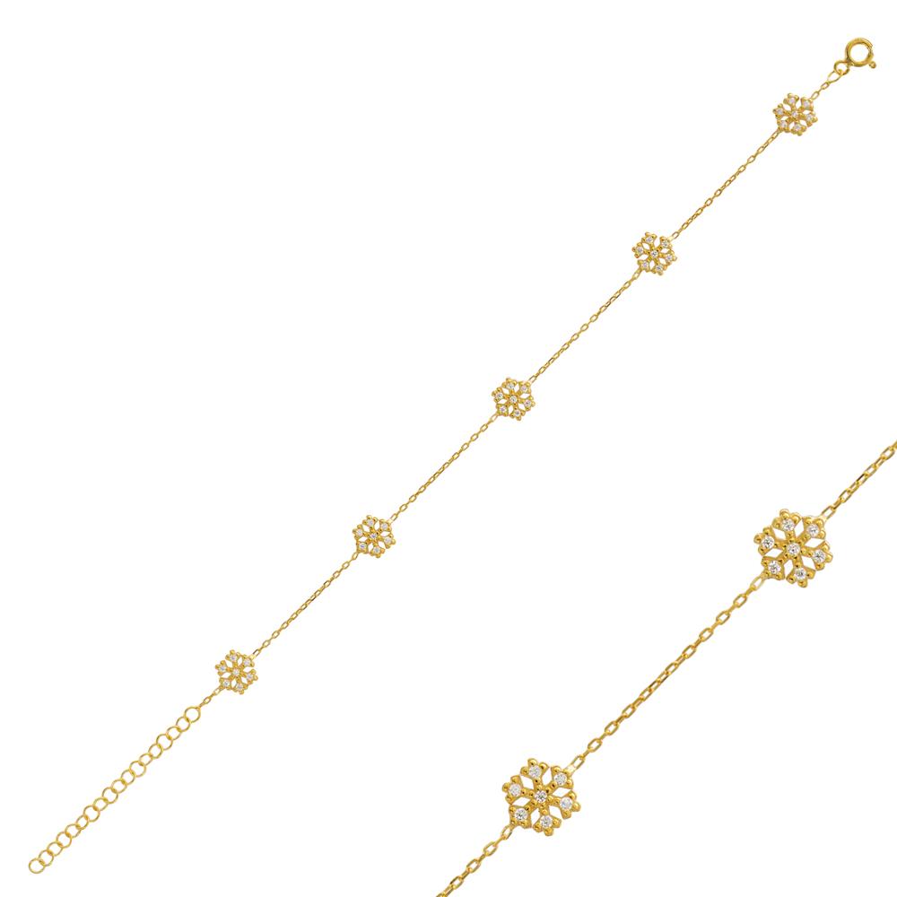 Trendy Turkish Snowflake Design Bracelet Wholesale 925 Sterling Silver Jewelry