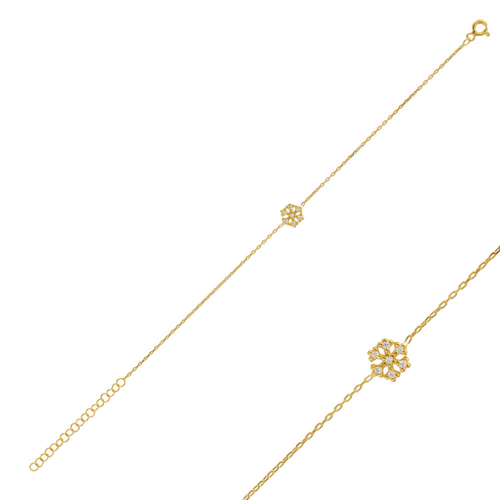 Dainty Minimal Snowflake Design Bracelet Wholesale 925 Sterling Silver Jewelry