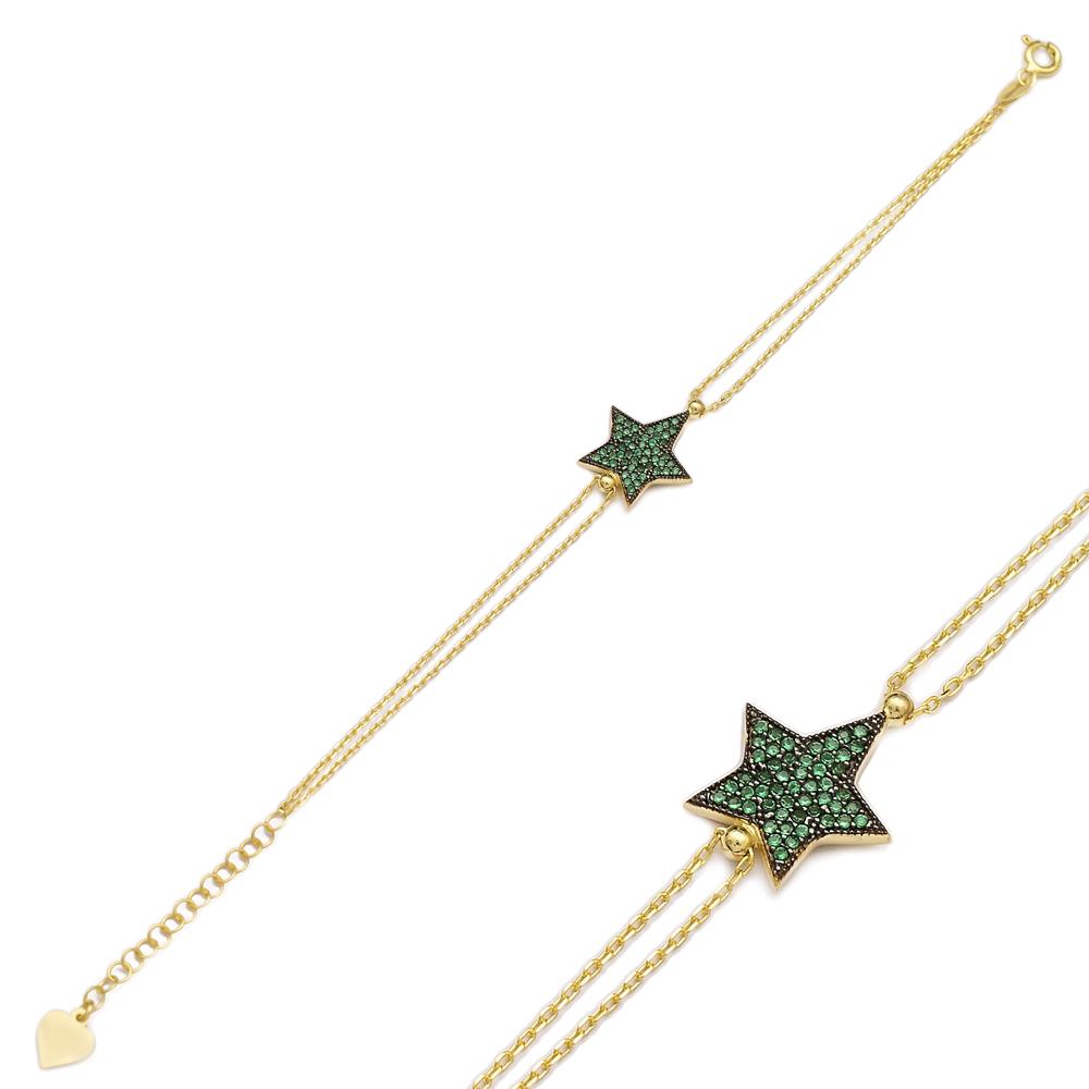 Emerald Stone Sterling Silver Wholesale Handcraft Turkish Star Design Bracelet
