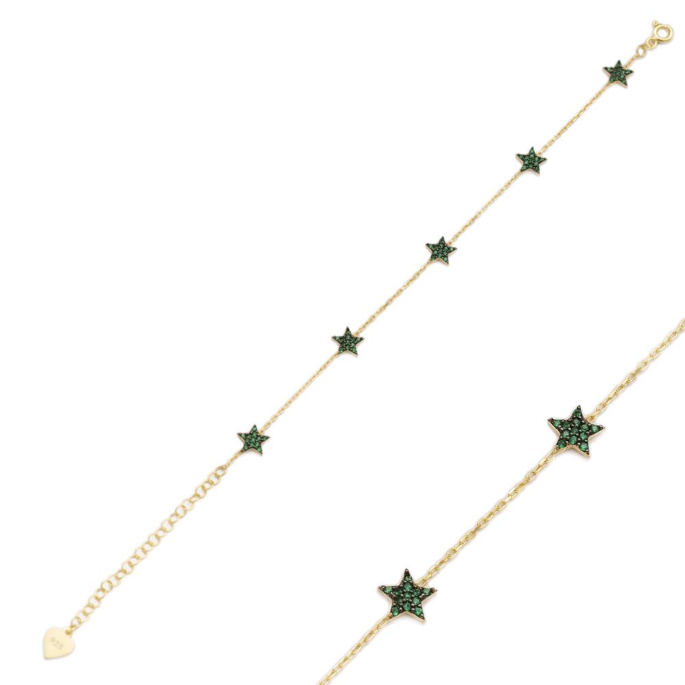 Emerald Stone Minimalist Star Design Wholesale 925 Sterling Silver Bracelet