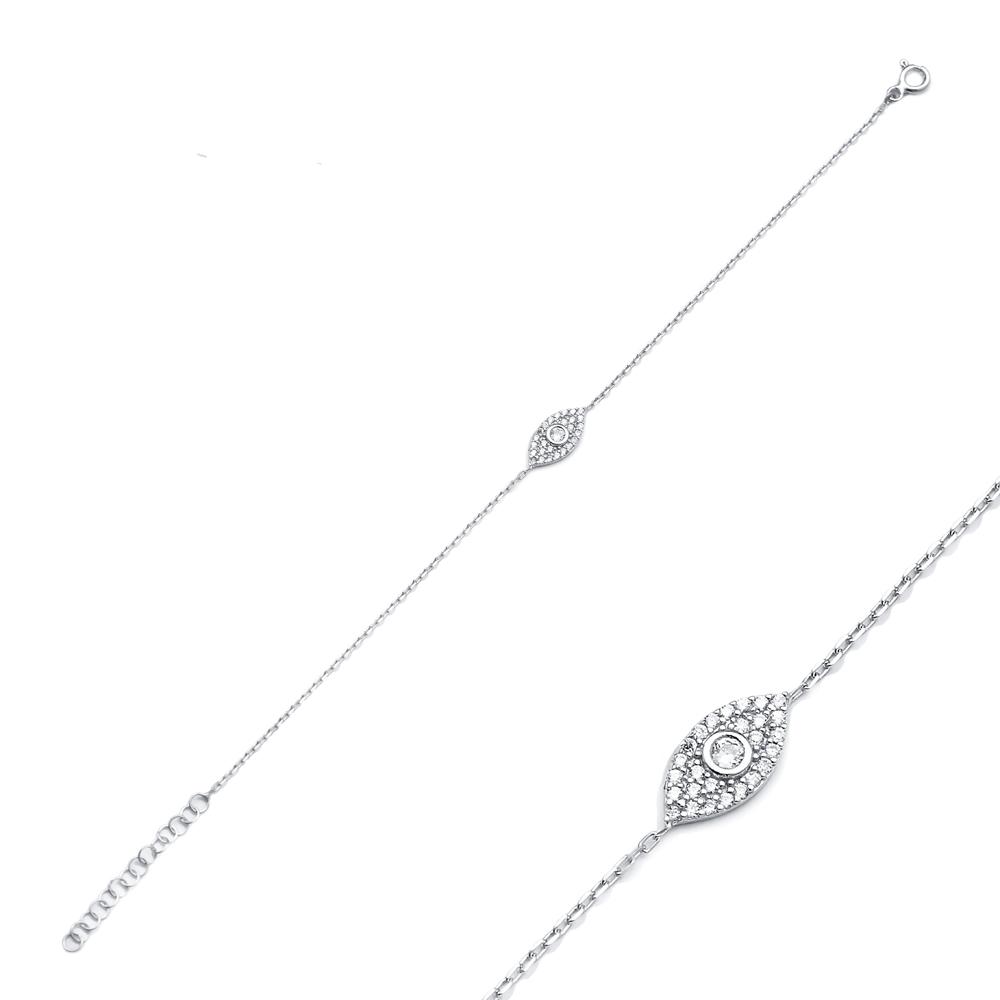 Minimal Charm Evil Eye Design Bracelet Wholesale Turkish 925 Sterling Silver Jewelry