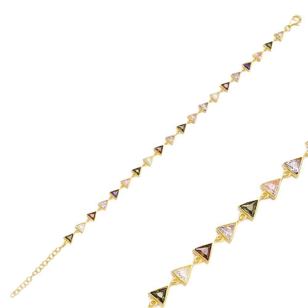 Colorful Stone Triangle Charms Bracelet Turkish Wholesale Handmade 925 Sterling Silver Jewelry