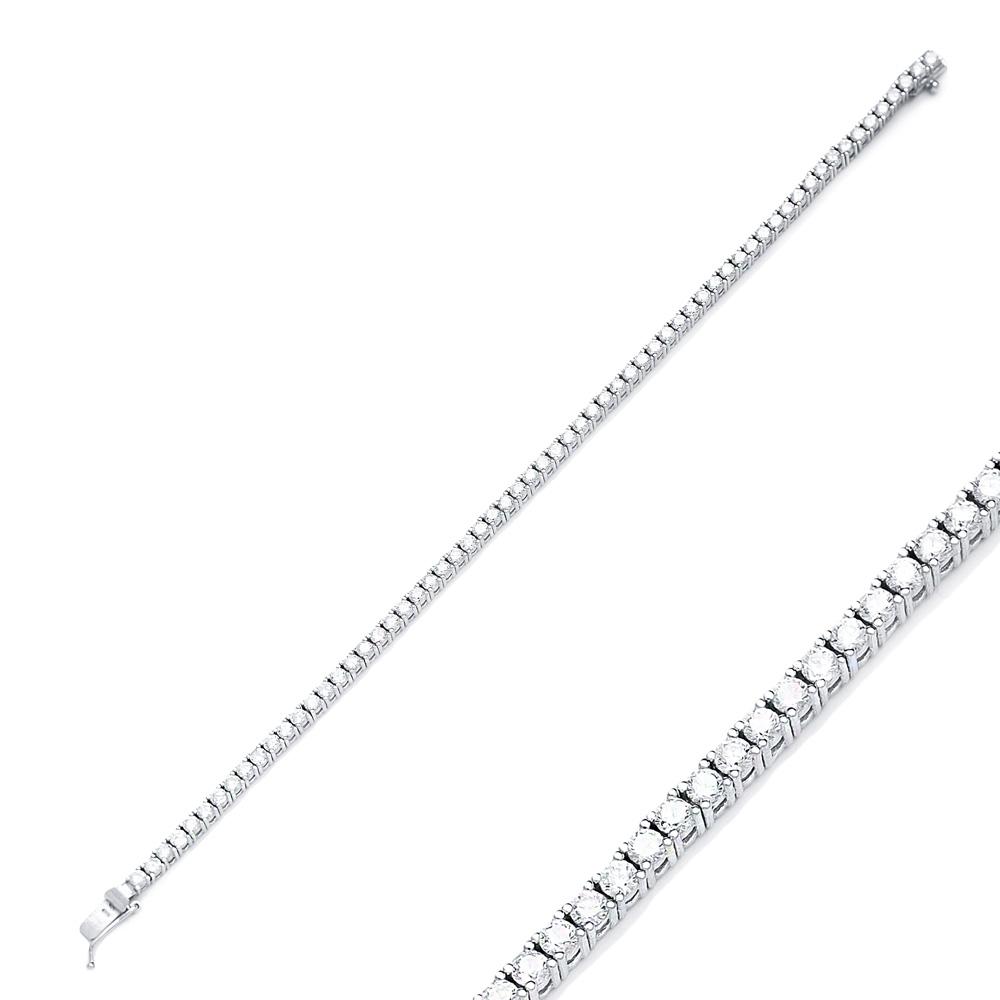 Zircon Stone Elegant Design Eternity Bracelet Turkish Wholesale Handmade 925 Sterling Silver Jewelry
