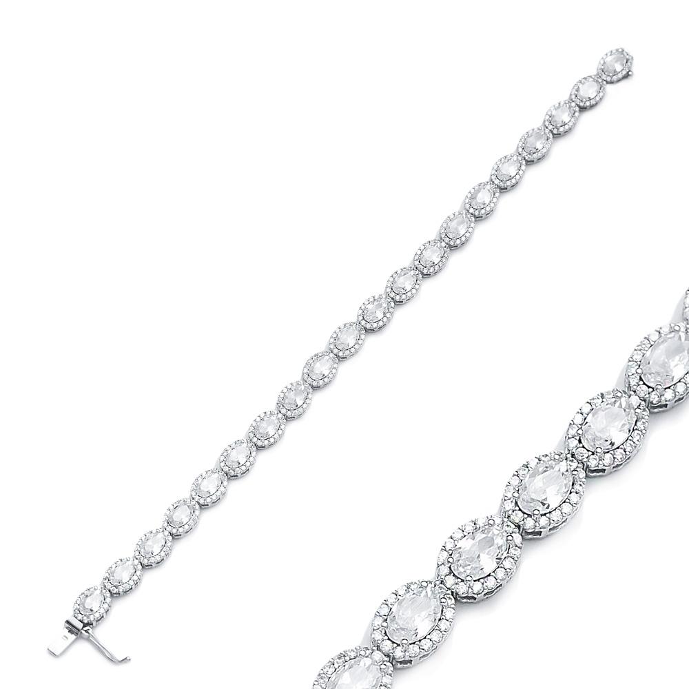 Unique Design Diamond Stone Cut Shape Eternity Bracelet Turkish Wholesale Handmade 925 Sterling Silver Jewelry