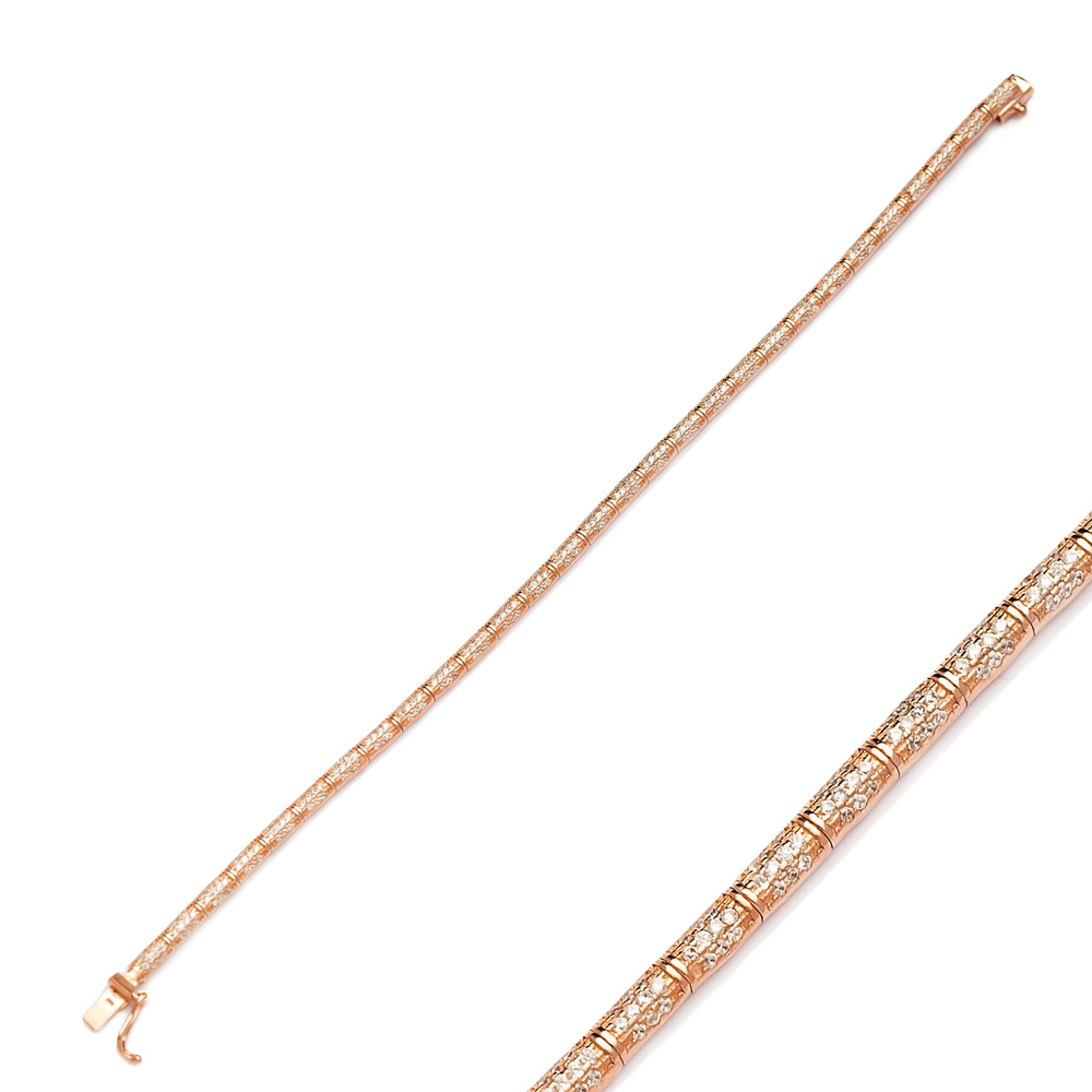 Cylinder Shape Zircon Stone Eternity Bracelet For Women Turkish Wholesale Handmade 925 Sterling Silver Jewelry