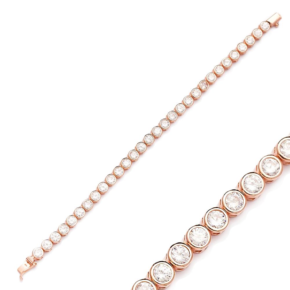 New Round Design Zircon Stone Eternity Bracelet Turkish Wholesale Handmade 925 Sterling Silver Jewelry