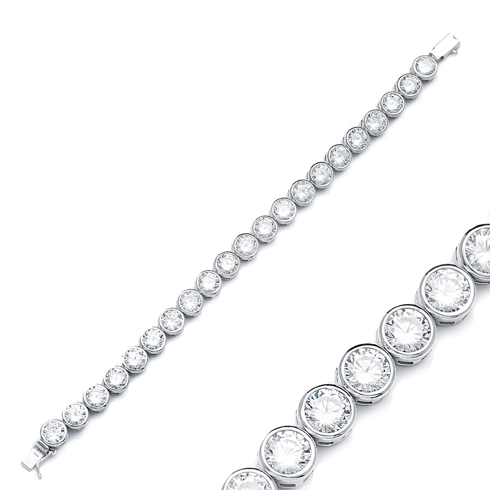 Ø7 mm Size Round Design Zircon Stone Eternity Bracelet Turkish Wholesale Handmade 925 Sterling Silver Jewelry
