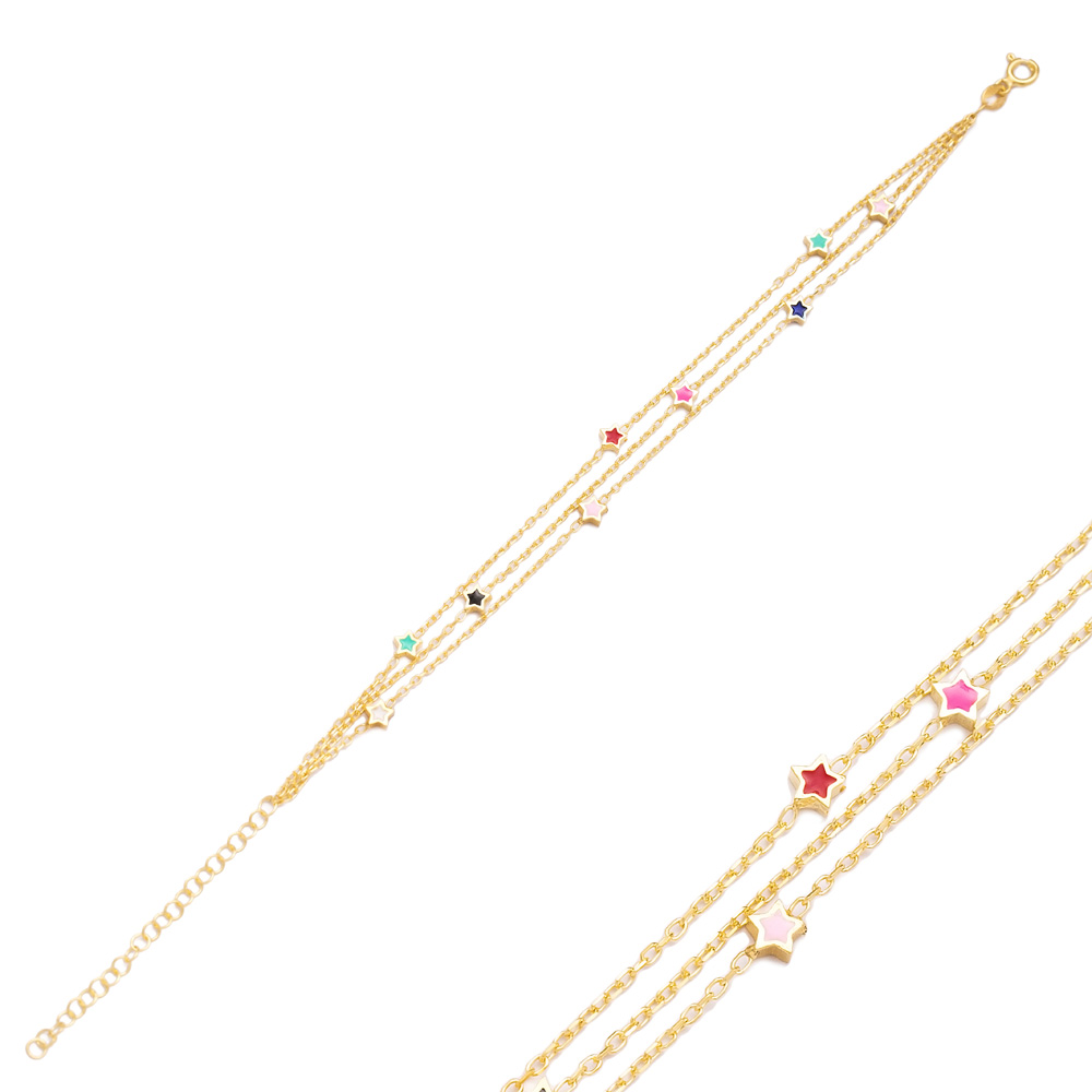 Colorful Enamel Minimalist Star Design Charm Bracelet Turkish Wholesale Handmade 925 Sterling Silver Jewelry