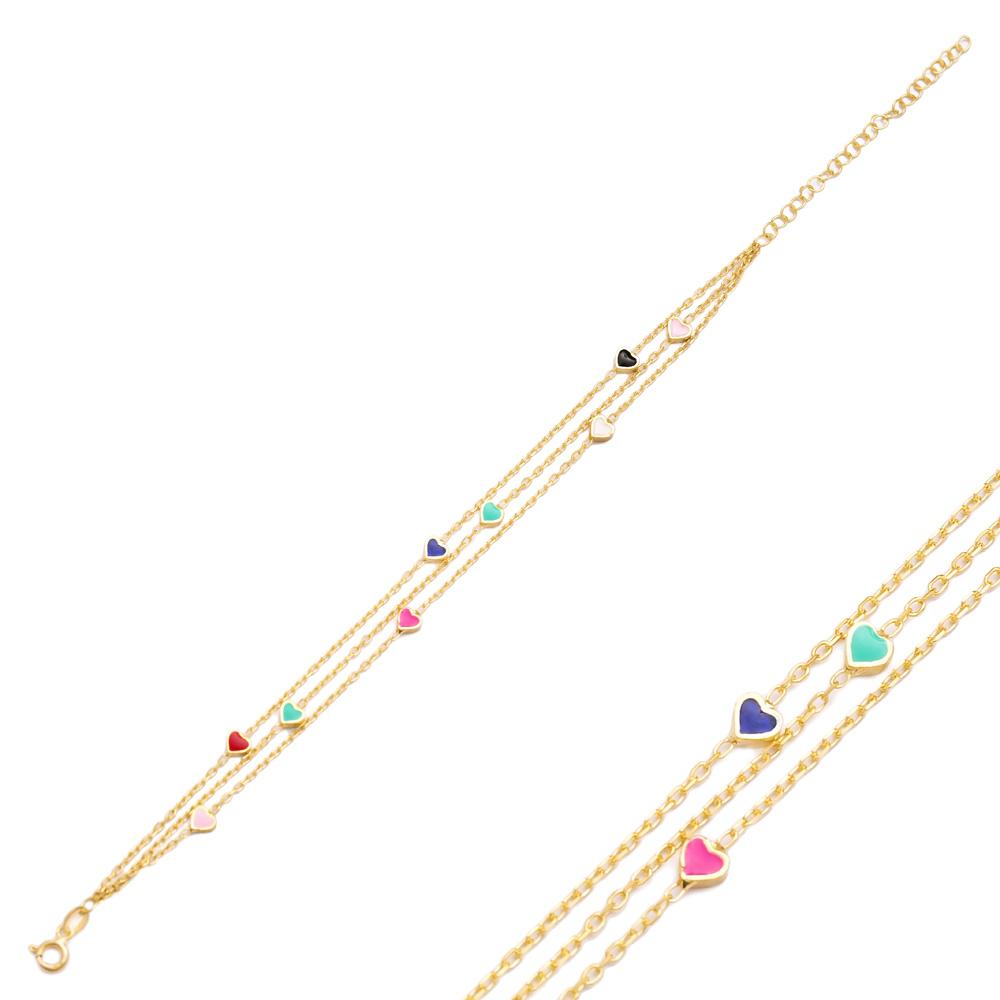 Rainbow Enamel Minimalist Heart Design Charm Bracelet Turkish Wholesale Handmade 925 Sterling Silver Jewelry