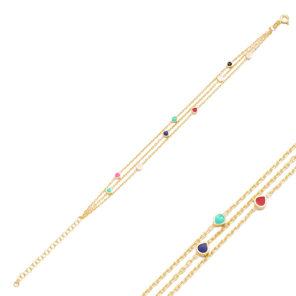 Rainbow Enamel Minimalist Teardrop Design Charm Bracelet Turkish Wholesale Handmade 925 Sterling Silver Jewelry