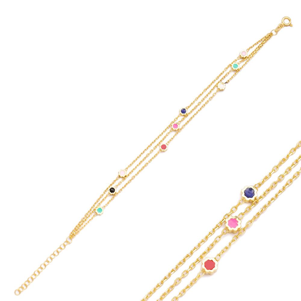 Mix Enamel Minimalist Flower Design Charm Bracelet Turkish Wholesale Handmade 925 Sterling Silver Jewelry