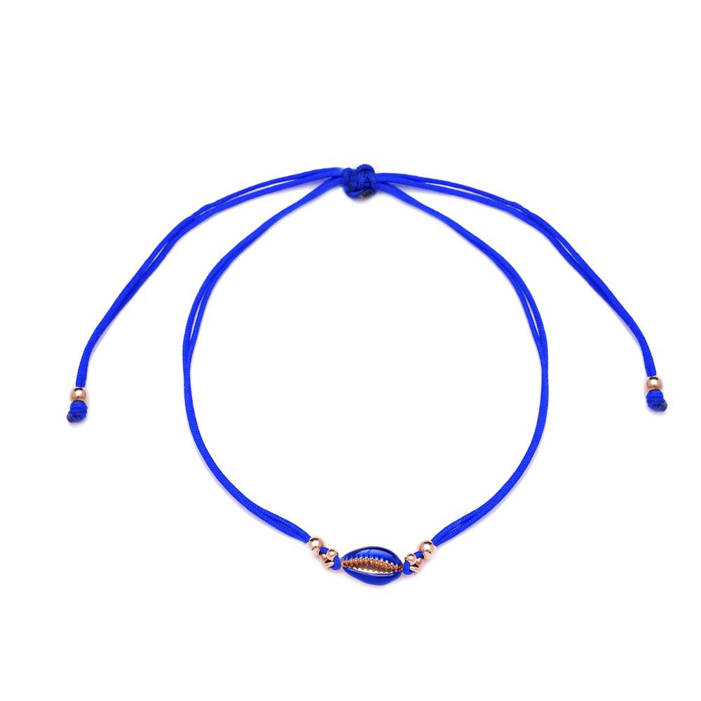Blue Color 14x6 mm Size Seashell Design Adjustable Knitting Bracelet Turkish Wholesale Handmade 925 Sterling Silver