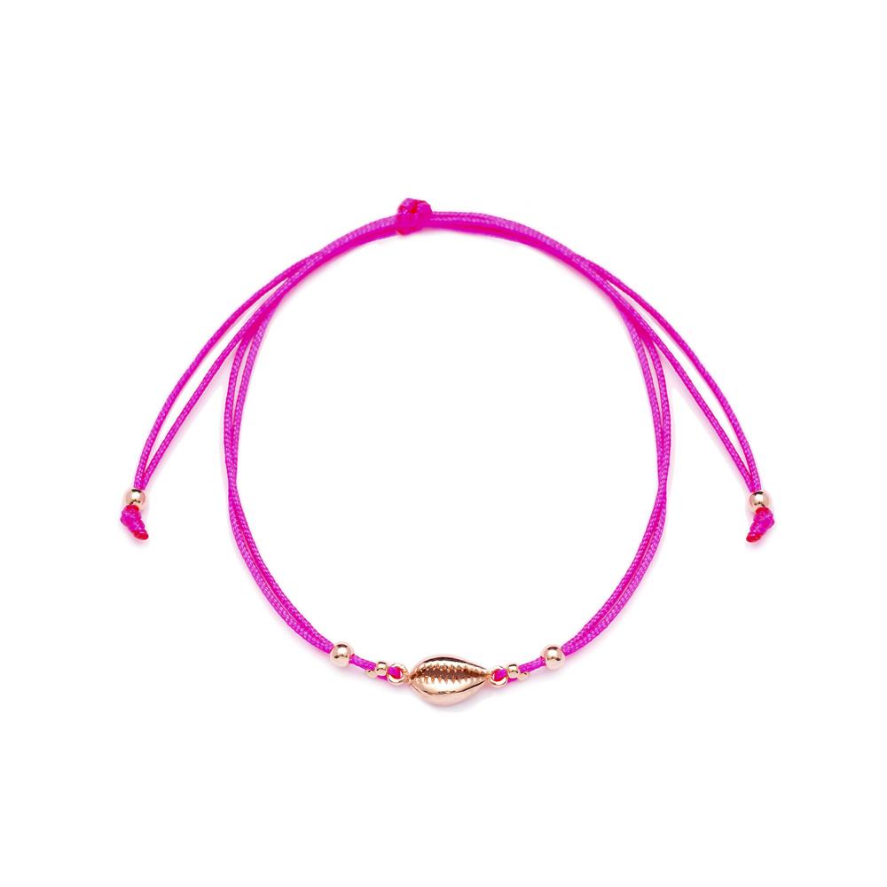 Pink Color 14x6 mm Size Seashell Design Adjustable Knitting Bracelet Turkish Wholesale Handmade 925 Sterling Silver