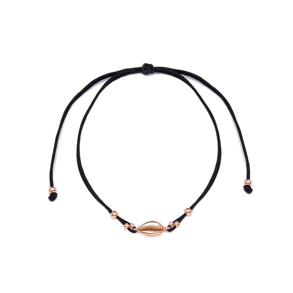 Black Color 14x6 mm Size Seashell Design Adjustable Knitting Bracelet Turkish Wholesale Handmade 925 Sterling Silver