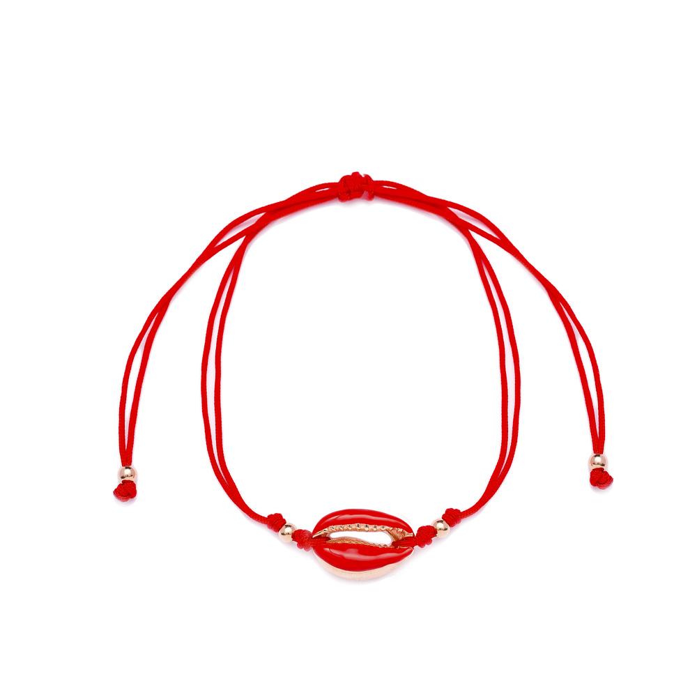 Red Color 15 x 10 mm Size Seashell Design Adjustable Knitting Bracelet Turkish Wholesale Handmade 925 Sterling Silver