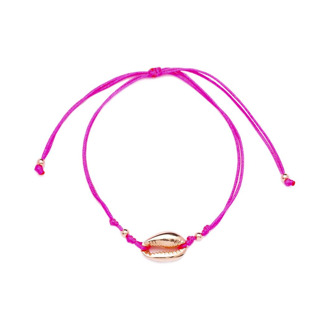 Pink Color 15 x 10 mm Size Seashell Design Adjustable Knitting Bracelet Turkish Wholesale Handmade 925 Sterling Silver