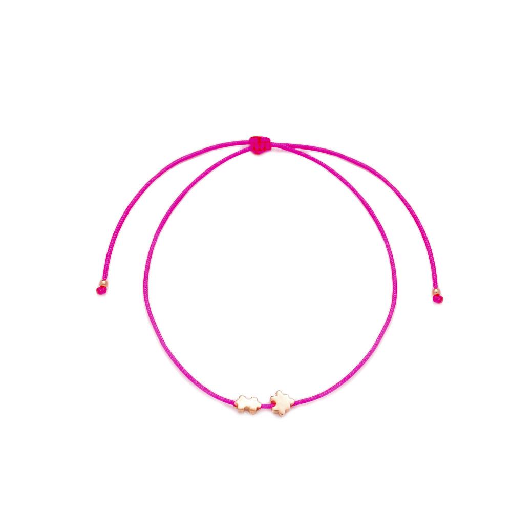 Pink Color Jigsaw Design Adjustable Knitting Bracelet Turkish Wholesale Handmade 925 Sterling Silver