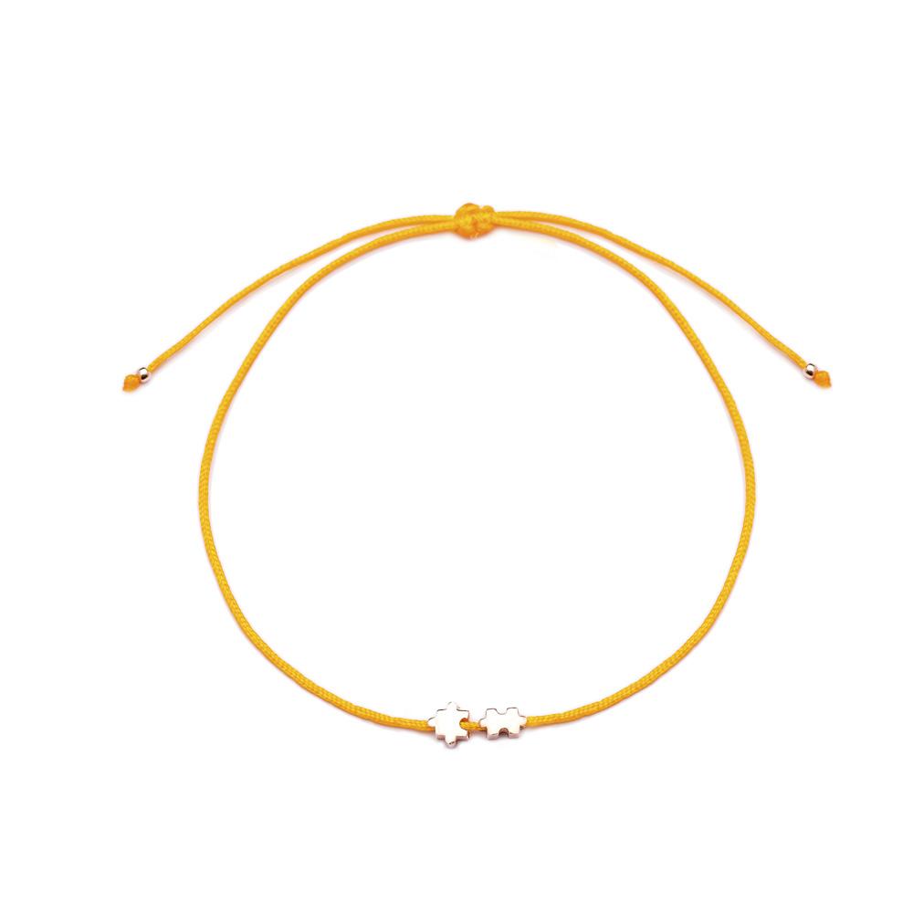 Orange Color Jigsaw Design Adjustable Knitting Bracelet Turkish Wholesale Handmade 925 Sterling Silver