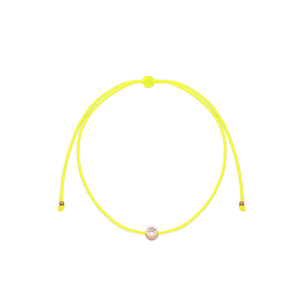 Yellow Color Minimalist Single Clear Zircon Stone Design Adjustable Knitting Bracelet Turkish Wholesale Handmade 925 Sterling Silver