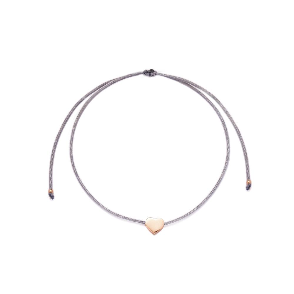 Grey Color Minimal Heart Design Adjustable Knitting Bracelet Turkish Wholesale Handmade 925 Sterling Silver
