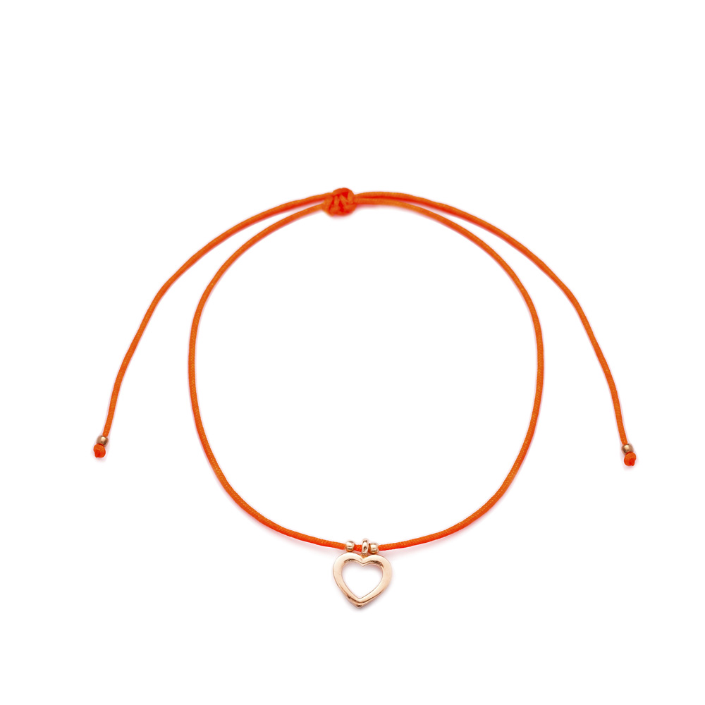 Orange Color Hollow Heart Design Adjustable Knitting Bracelet Turkish Wholesale Handmade 925 Sterling Silver