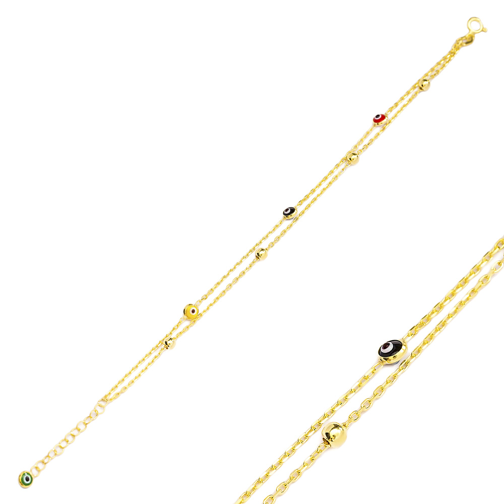 Rainbow Evil Eye Design Charm Bracelet Turkish Wholesale Handmade 925 Sterling Silver Jewelry